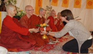 Emily and the Aloka Vihara Bhikkhunis at the 2015 Almsgiving Ceremony