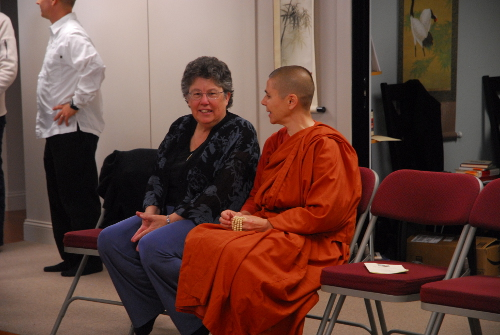 Saranaloka Foundation past president Jill Boone with Santacitta Bhikkhuni