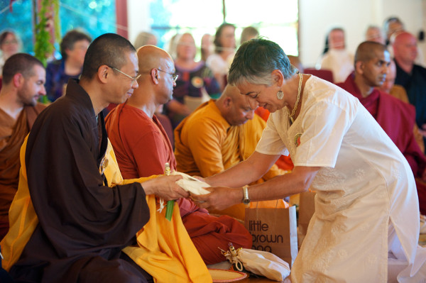 Maria Torres at Ayya Anandabodhi and Ayya Santacitta's bhikkhuni ordination at Spirit Rock in 2011